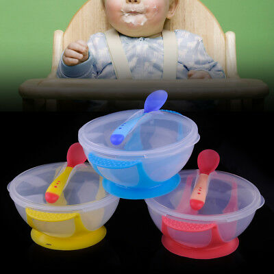 Baby Kids Self-Feeding Suction Cup Bowl Tableware Set Temperature Sensing Spoon