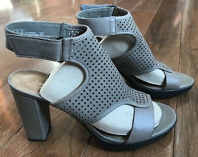 74fb252526901 CLARKS Artisan Pastina Lima Ankle Strap Heels Perforated Gray Taupe Leather  Sz 7
