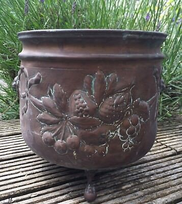 Lovely, Vintage, Copper, Footed Cauldron, Planter, Relief Decoration.