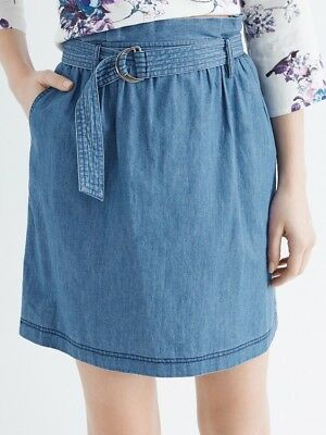 Oasis Paperbag Chambray Skirt - Size 8