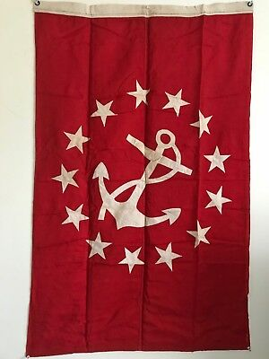 "Vintage 13 Stars Linen Red & Tan Yacht Anchor Flag  29"" x 47"" Great for Framing"