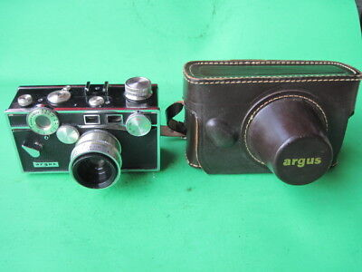 """Vintage Argus C-3 """"The Brick""""  35 MM Film Camera W Leather Case  Made In USA"""