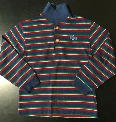 Vintage 80s Izod Lacoste Youth Kids Long Sleeve Striped Shirt Navy Blue Size 6
