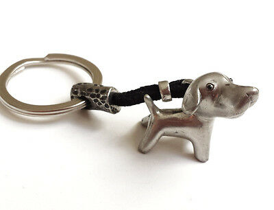 Pointer Dog Key-ring Keychain Charm Gift, Pewter