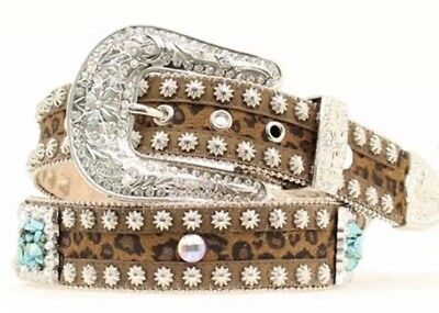 Western Women's Cowgirl Turquoise Concho Stone & Leopard Fashion Bling Belt