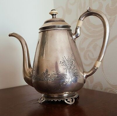 Russian 84 silver Faberge tea coffee pot Russland silber Russie argent 595 gr.