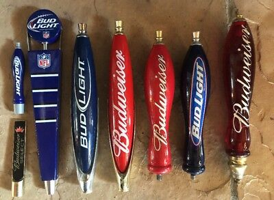Lot Of 8 Budweiser / Bud Light Beer Taps / Handles