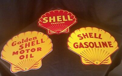 3 Vintage SHELL Gasoline Clam Shell Porcelain Signs