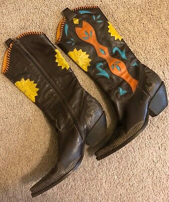 d789bf7c6c4 BCBG WOMEN'S LEATHER Cowboy Boots Multi Colored w/Turquoise, Orange, Gold  Sz 10