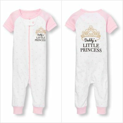 NWT The Childrens Place Daddy's Princess Girls Romper Stretchie Sleeper Pajamas