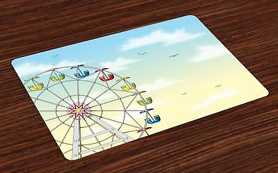Ferris Wheel Placemats Set of 4 Ambesonne Washable Fabric Place Mats Decor