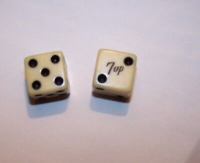 "Vintage ivory color 7-UP ADVERTISING DICE All ""2""s and ""5""s, 7-UP"