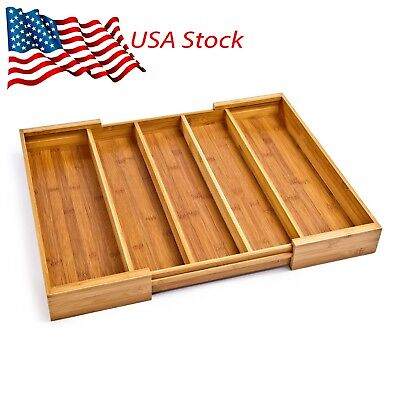 Bamboo Expandable 5 Large Compartment Adjustable Cutlery Drawer Seville Classics