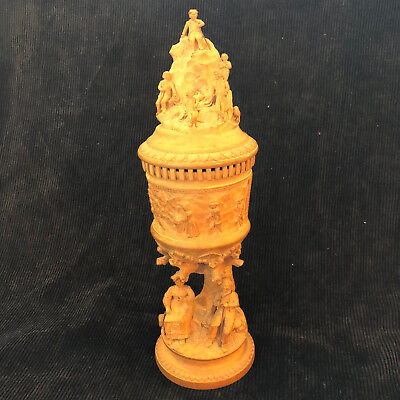 Vintage/antique carved wood chalice goblet with lid, stunning in its fine detail