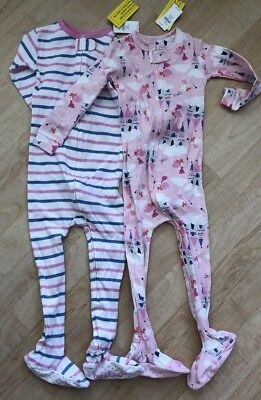 Baby Gap Toddler Girls Footed Pajamas- Lot Of 2 - Size 2 NEW NWT