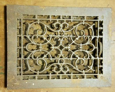 """Ornate Cast Iron  Heating Grate Register Vent  w/Louvers Fits 9"""" x 12"""" Hole A"""