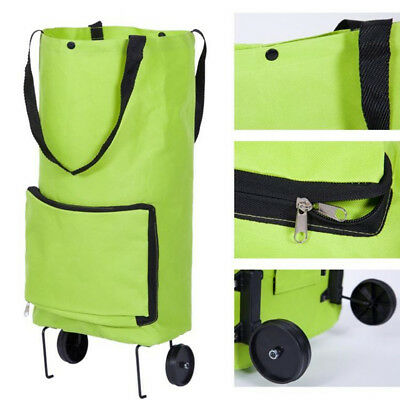 Green Protable Shopping Trolley Tote Bag Sac à dos pliable Rolling Grocery Wheel