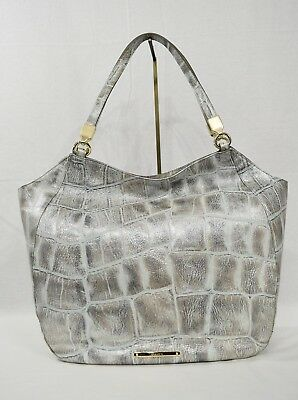 e4f69405882e NWT Brahmin Thelma Shoulder Bag Tote in Pewter Majorelle Embossed Leather