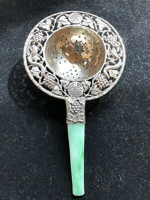 Chinese Antique Sterling And Jade Tea Strainer Signed