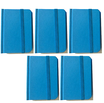 """5-pack New Small Blue Hardcover Pocket Notebook Journal 96 Pages 4.5 x 3"""" Ruled"""