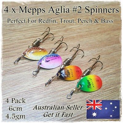4 Mepps Fishing Spinner Lures Trout Lure Redfin Perch Yellowbelly Bass Trout #2