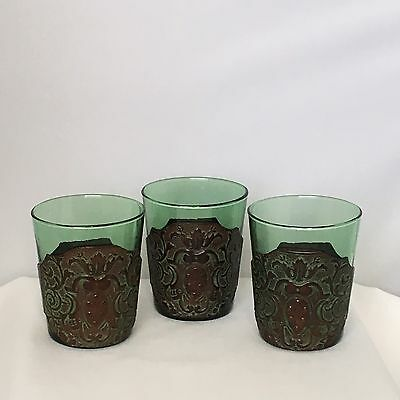 Vintage Highball Glasses Green with Leather Sleeve 6oz Made In Italy.