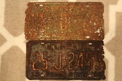 Vintage 1964 and 1968 Georgia License Plate Lot