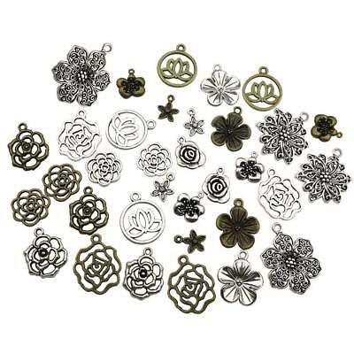 11 Style Of Flower Antique Silver/Bronze Charms Pendant Jewelry Finding DIY J