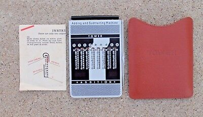 Vintage Tower Adding and Subtracting Machine w/ Leather Case and Instructions