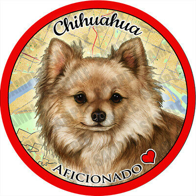 Chihuahua Long Hair Fawn Absorbent Porcelain Dog Breed Car Coaster
