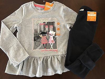 NWT Gymboree Girl Kitty In Pink Grey City Tee & Black Fuzzy Leggings Outfit 4T