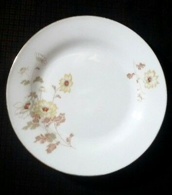 """Fine Porcelain By Northridge China Yellow Flower Leaf Pattern Bread Plate 7 1/4"""""""