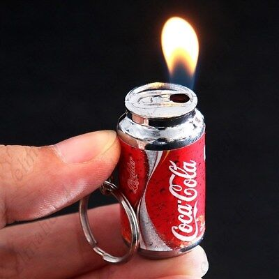 ⟦New⟧ Mini Cola Can Style Refillable Gas Cigarette Lighter with Keychain