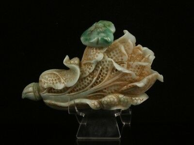 Chinese Exquisite Hand-carved Chinese cabbage carving Jadeite jade statue