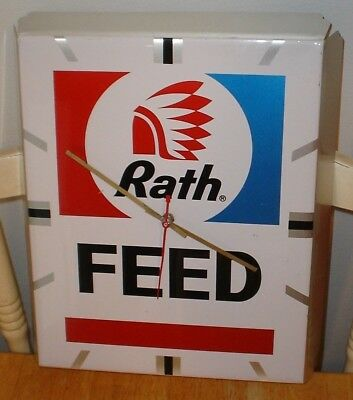 Vintage Rath Feed Advertising Clock Sign w/ Indian Graphics Waterloo, Iowa Pack