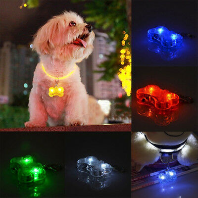 Dog Cat Night LED Safety Light Flashing Colour Pet Collar Luminous Bone Pendant