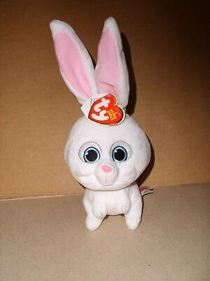 """Ty Beanie Babies Secret Life of Pets Snowball The Bunny Soft Plush 5"""" NWT"""