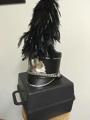 a1032ce8494 BAYLY LEATHER BLACK Shako Marching Band Hat with Plume +Case