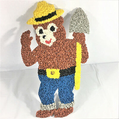 Vintage Plastic Melted Popcorn Smokey Bear Prevent Forest Fires 1970's
