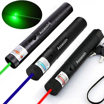 3PCS 50Miles Assassin Green+Blue+Red Laser Pointer Lazer Pen Beam Light USA