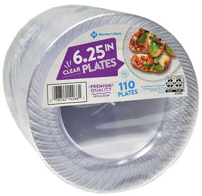 "Clear Plastic Plates 6.25"" Party Catering Food Service Disposable 110 ct."