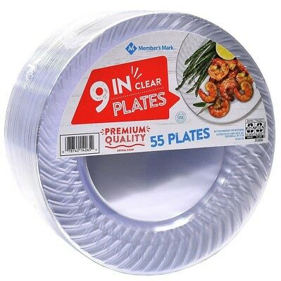 "Clear Plastic Plates 9"" Party Catering Food Service Disposable 55 ct."