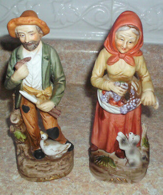 Home Interiors, HOMCO Porcelain 2 pc Old Man & Woman #1417