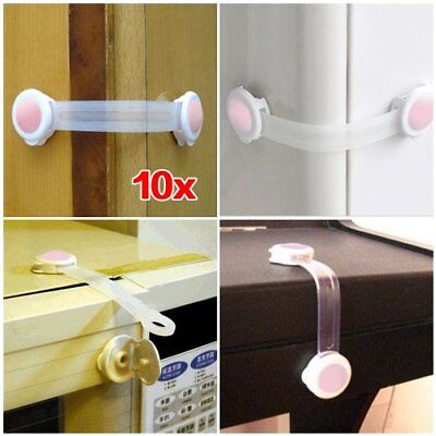 3X(10pcs Baby Drawer Cupboard Cabinet Door Drawers Safety Lock Latch - Pink H6S7
