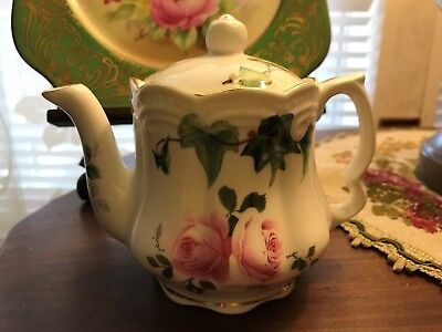 Staffordshire Collection Teapot Bone China Pink Roses Green Ivy Euc