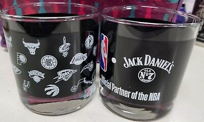 All New Clean Unused Set Of 4 Jack Daniels Old No.7 NBA edition Glasses