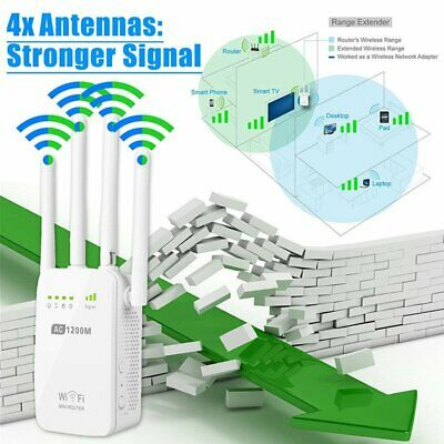 Wireless 5G Dual Band300/1200Mbps Range Extender WiFi Repeater Router 4 Antenna