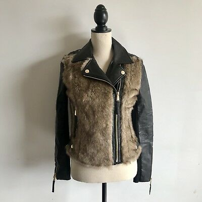 BCBGeneration Jacket XS Faux Fur Leather Moto Motorcycle Black Gold Womens Coat