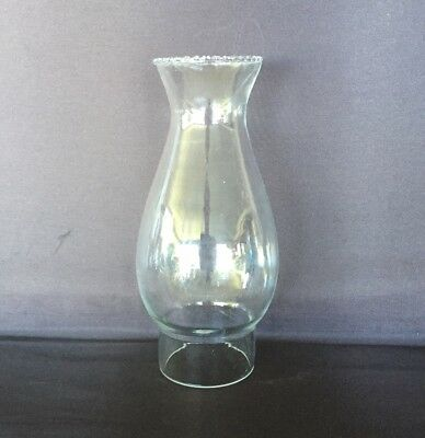 "Glass Oil Lamp Chimney Crimp Top ""A""-2.5 Inch (62mm) Base, 19.5cm Tall."