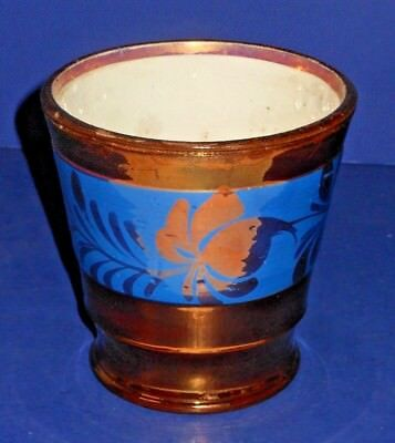 Antique Staffordshire Copper Luster Handless Vessel, Cup, Mug